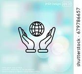 web line icon. globe in hand. | Shutterstock .eps vector #679786657