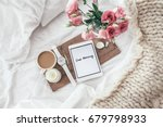 wooden tray with tablet  coffee ... | Shutterstock . vector #679798933