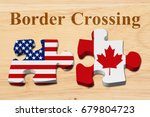 americans crossing the canadian ... | Shutterstock . vector #679804723
