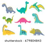Stock vector cute vector dinosaurs isolated on white background 679804843