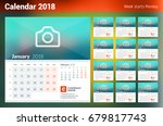 calendar for 2018 year. week... | Shutterstock .eps vector #679817743
