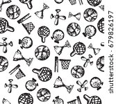 seamless pattern with hand...   Shutterstock .eps vector #679826197