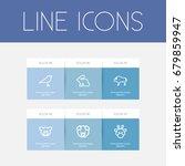 set of 6 editable zoo outline... | Shutterstock .eps vector #679859947