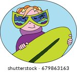 funny surfer in flat style....   Shutterstock .eps vector #679863163