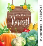 happy harvest background.... | Shutterstock .eps vector #679869367