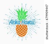 aloha hawaii typography... | Shutterstock .eps vector #679909447