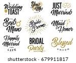 bride and groom wedding... | Shutterstock .eps vector #679911817