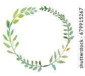 watercolor wreath made of field ... | Shutterstock . vector #679915267