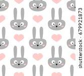 head of funny rabbit with big... | Shutterstock .eps vector #679921873