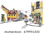 old town sketch | Shutterstock .eps vector #679951333