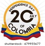 golden round button with... | Shutterstock .eps vector #679955677