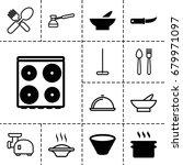 kitchen icon. set of 13 filled...
