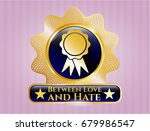 gold shiny badge with ribbon... | Shutterstock .eps vector #679986547