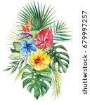 watercolor floral flower... | Shutterstock . vector #679997257