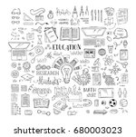vector set of doodles education ... | Shutterstock .eps vector #680003023