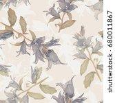 bell flower seamless pattern....   Shutterstock . vector #680011867