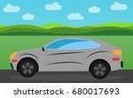 gray sports car in the...   Shutterstock .eps vector #680017693