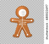 skeleton gingerbread man... | Shutterstock .eps vector #680022697