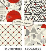 set of seamless abstract... | Shutterstock .eps vector #680033593