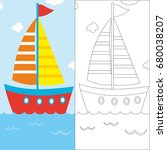coloring page with sailboat ...   Shutterstock .eps vector #680038207