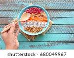 healthy breakfast. bowl of... | Shutterstock . vector #680049967