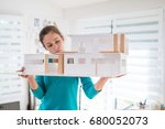beautiful young woman architect ... | Shutterstock . vector #680052073