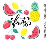 set of fruits  symbol of summer.... | Shutterstock .eps vector #680063233