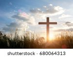 the cross on green grass with... | Shutterstock . vector #680064313