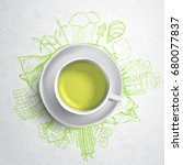 green tea with circle ecology... | Shutterstock .eps vector #680077837