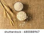 barley grain and flakes in... | Shutterstock . vector #680088967