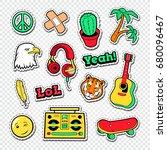 back to school doodle.... | Shutterstock .eps vector #680096467
