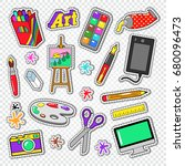 art tools doodle. painting... | Shutterstock .eps vector #680096473