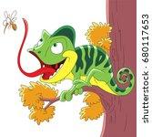 cartoon chameleon and mosquito  ... | Shutterstock .eps vector #680117653