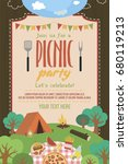 summer picnic party invitation... | Shutterstock .eps vector #680119213