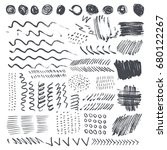 set of black ink brush strokes... | Shutterstock .eps vector #680122267