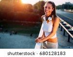 portrait of woman taking break... | Shutterstock . vector #680128183