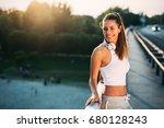 portrait of woman taking break... | Shutterstock . vector #680128243
