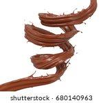 chocolate spiral  brown liquid... | Shutterstock . vector #680140963