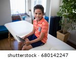 high angle portrait of smiling... | Shutterstock . vector #680142247
