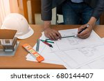 civil design engineer is making ... | Shutterstock . vector #680144407