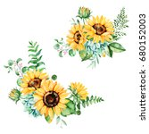 beautiful floral collection... | Shutterstock . vector #680152003