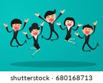 business people jumping... | Shutterstock .eps vector #680168713