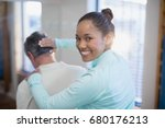 rear view of portrait of... | Shutterstock . vector #680176213