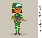 african army woman with rifle   Shutterstock . vector #680176327