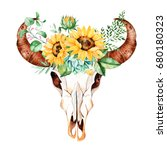 watercolor bull skull head with ... | Shutterstock . vector #680180323