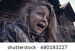 a hungry homeless child cries.... | Shutterstock . vector #680183227