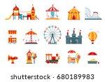 amusement park vector flat... | Shutterstock .eps vector #680189983