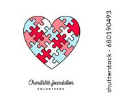 puzzle heart  vector colorful... | Shutterstock .eps vector #680190493