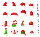 santa claus hat set isolated.... | Shutterstock . vector #680192623