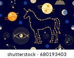 night sky and unicorn. abstract ... | Shutterstock .eps vector #680193403